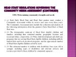 head start regulations governing the community needs assessment continued