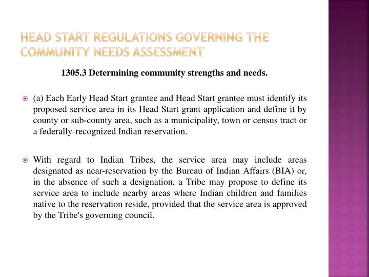 Head start Regulations Governing The Community Needs Assessment