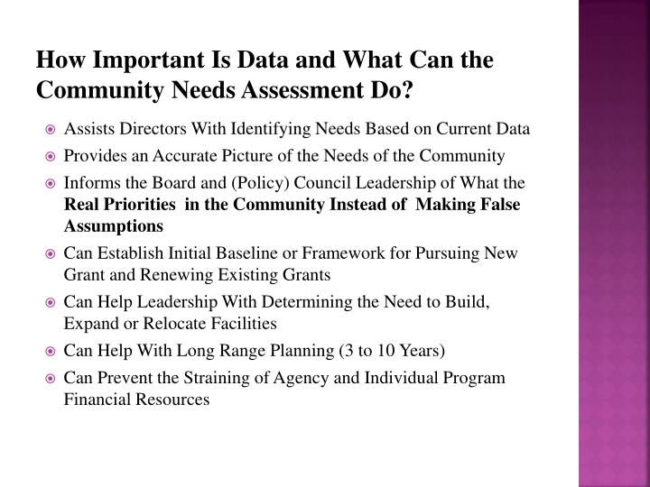 How Important Is Data and What Can the Community Needs Assessment Do?