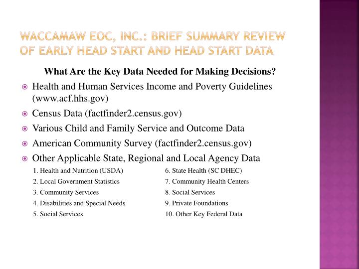 Waccamaw eoc, inc.: BRIEF Summary Review of early head start and Head start data