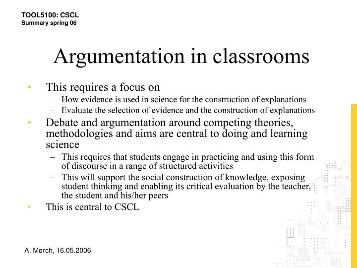 Argumentation in classrooms