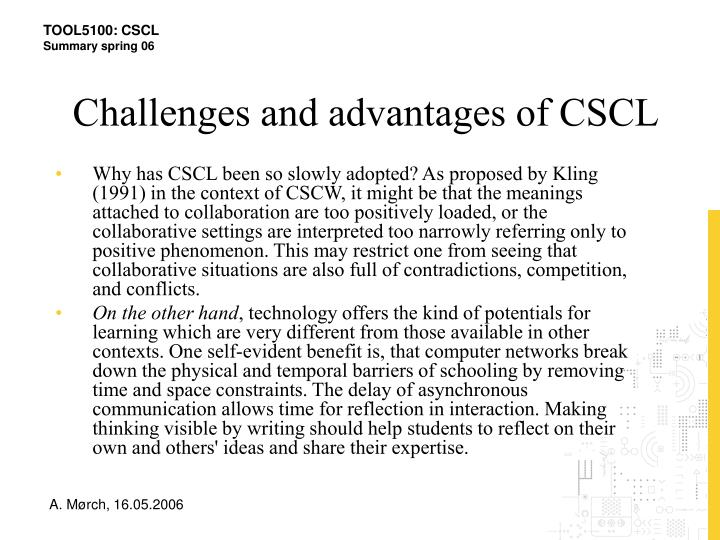Challenges and advantages of CSCL