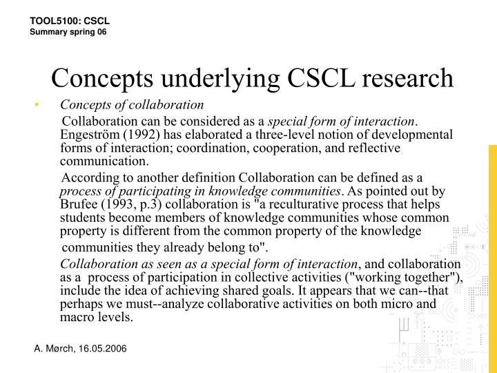 Concepts underlying CSCL research
