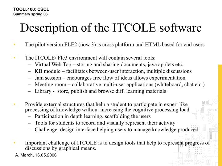 Description of the ITCOLE software