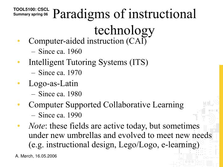 Paradigms of instructional technology