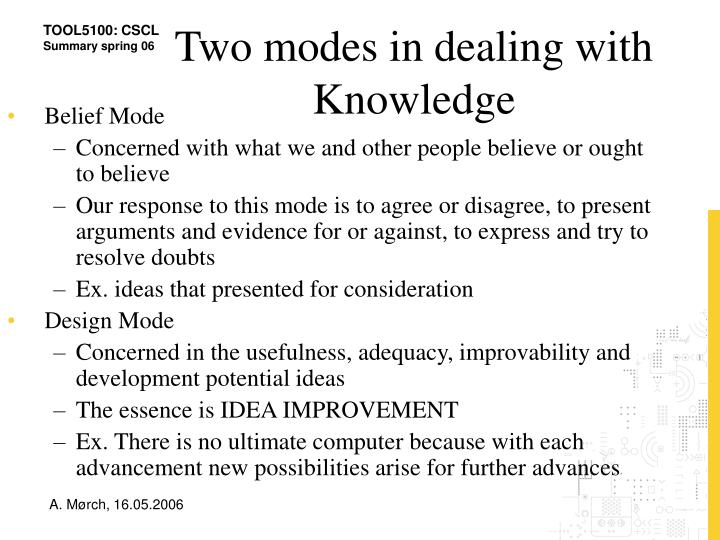 Two modes in dealing with Knowledge