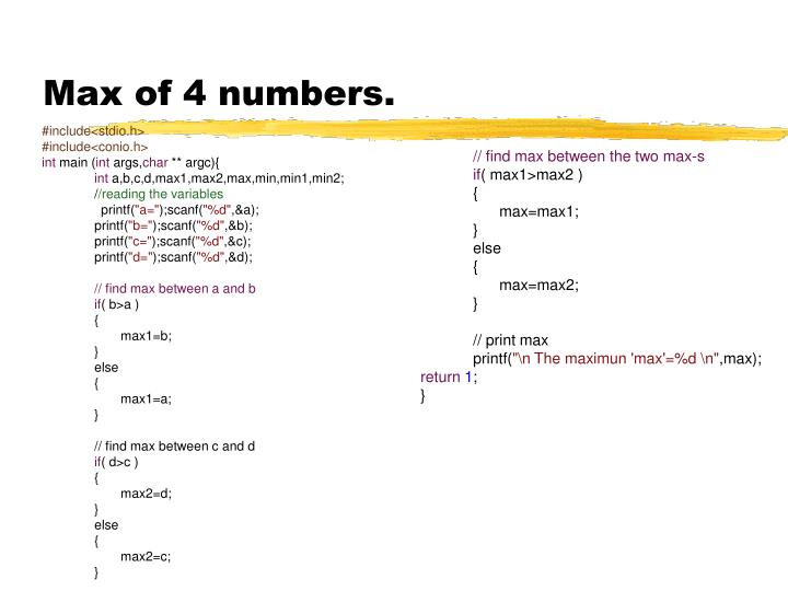 Max of 4 numbers.