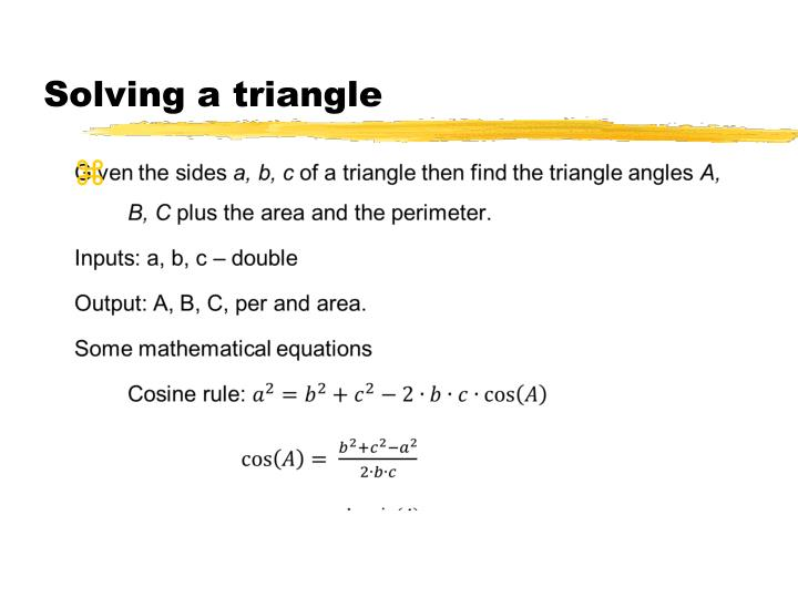 Solving a triangle