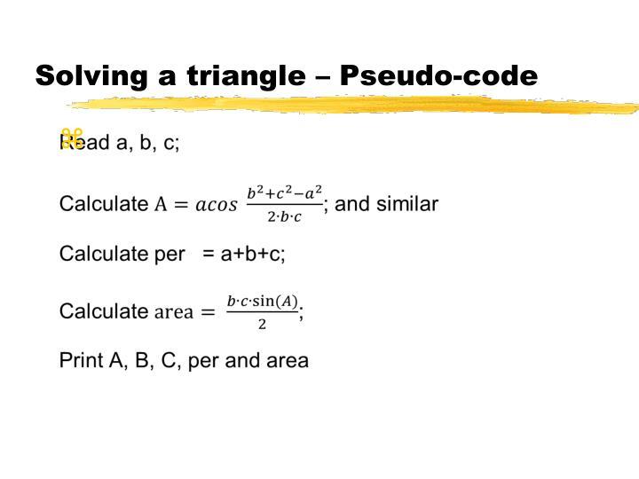 Solving a triangle – Pseudo-code