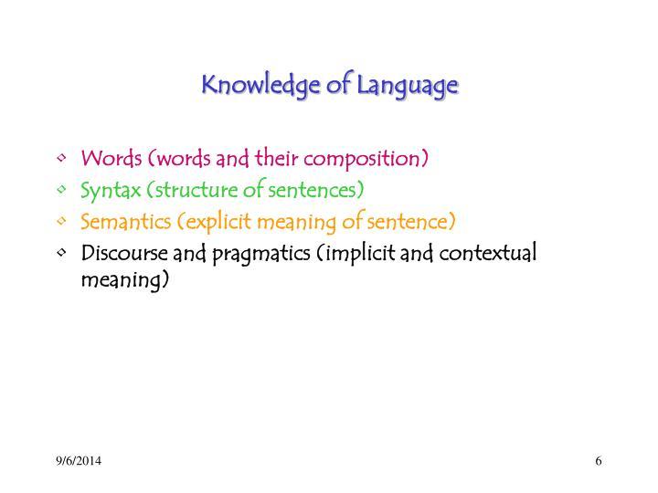 Knowledge of Language