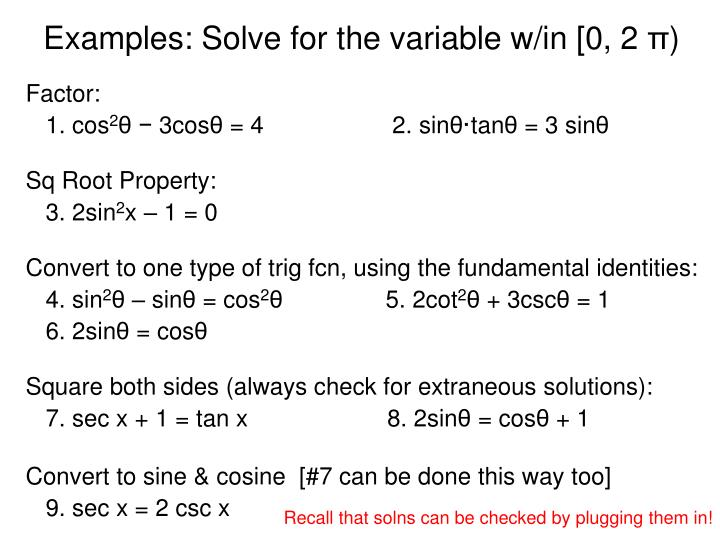 Examples solve for the variable w in 0 2