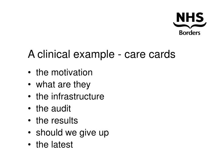 A clinical example - care cards