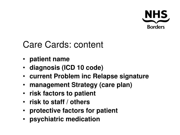 Care Cards: content