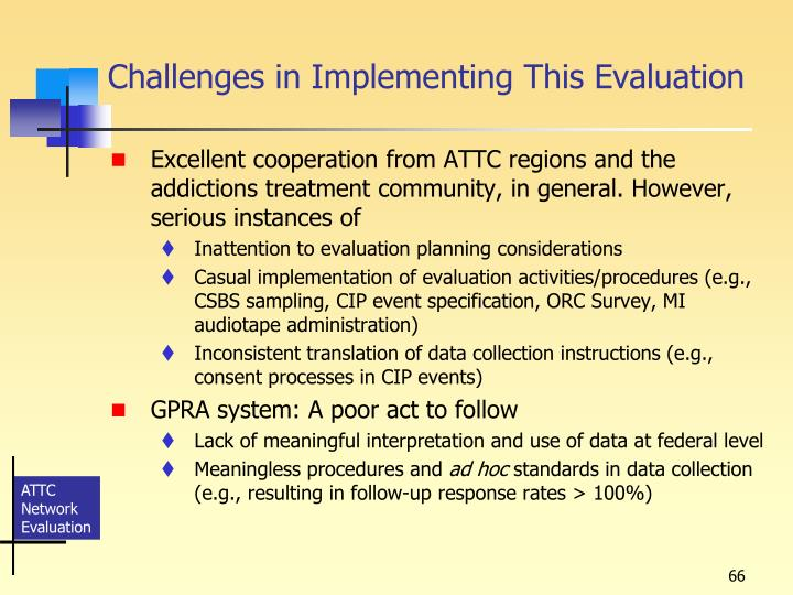 Challenges in Implementing This Evaluation