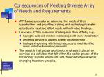 consequences of meeting diverse array of needs and requirements
