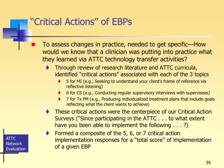 """Critical Actions"" of EBPs"