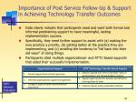 importance of post service follow up support in achieving technology transfer outcomes