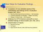 next steps for evaluation findings