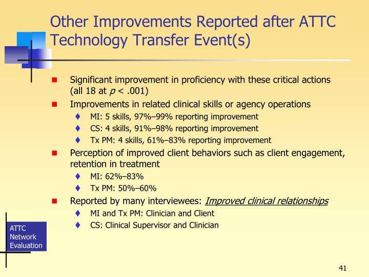 Other Improvements Reported after ATTC Technology Transfer Event(s)