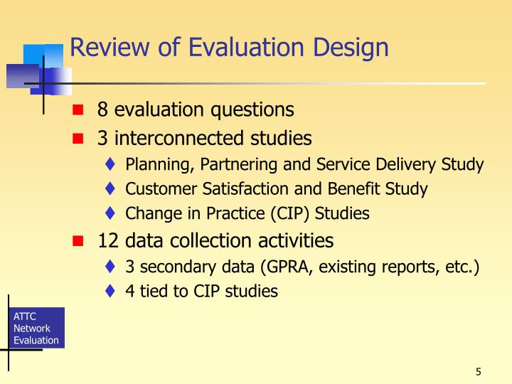 Review of Evaluation Design