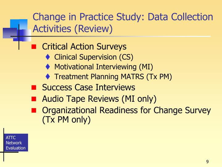 Change in Practice Study: Data Collection Activities (Review)