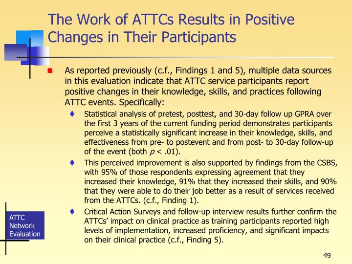 The Work of ATTCs Results in Positive Changes in Their Participants