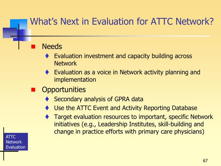 What's Next in Evaluation for ATTC Network?
