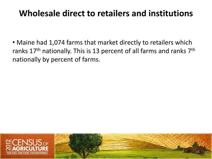 Wholesale direct to retailers and institutions