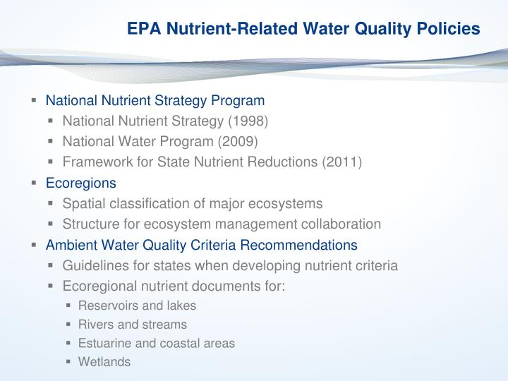 EPA Nutrient-Related Water Quality Policies