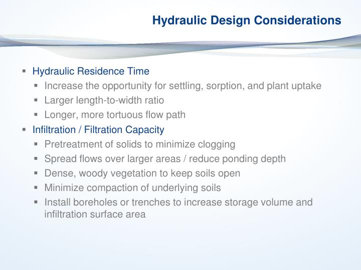 Hydraulic Design Considerations