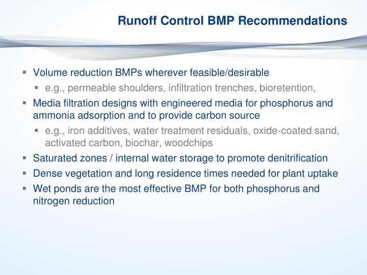 Runoff Control BMP Recommendations
