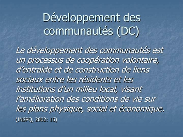 Développement des communautés (DC)