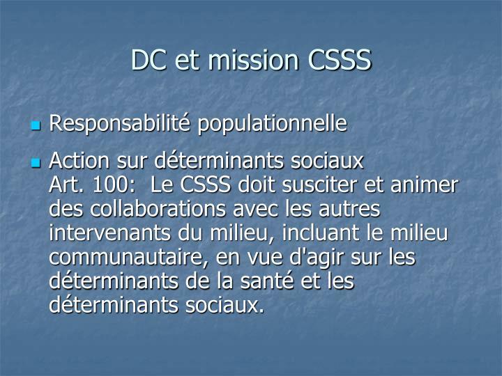 DC et mission CSSS