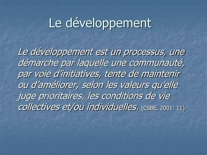 Le développement