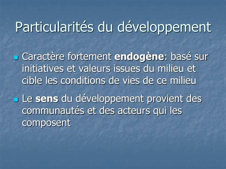 Particularités du développement