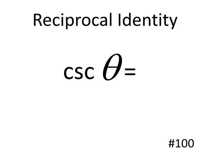 Reciprocal Identity