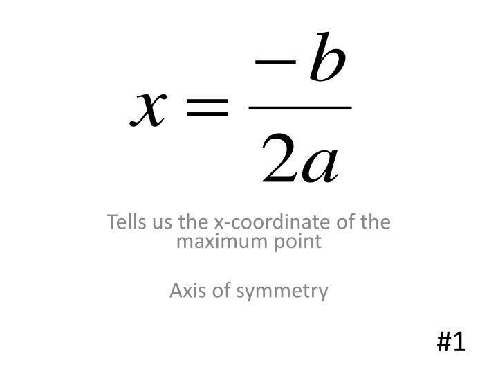 Tells us the x-coordinate of the maximum point