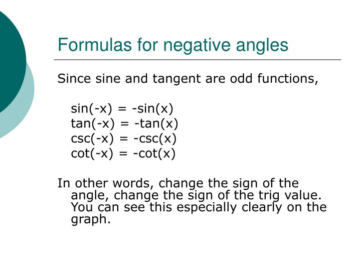 Formulas for negative angles