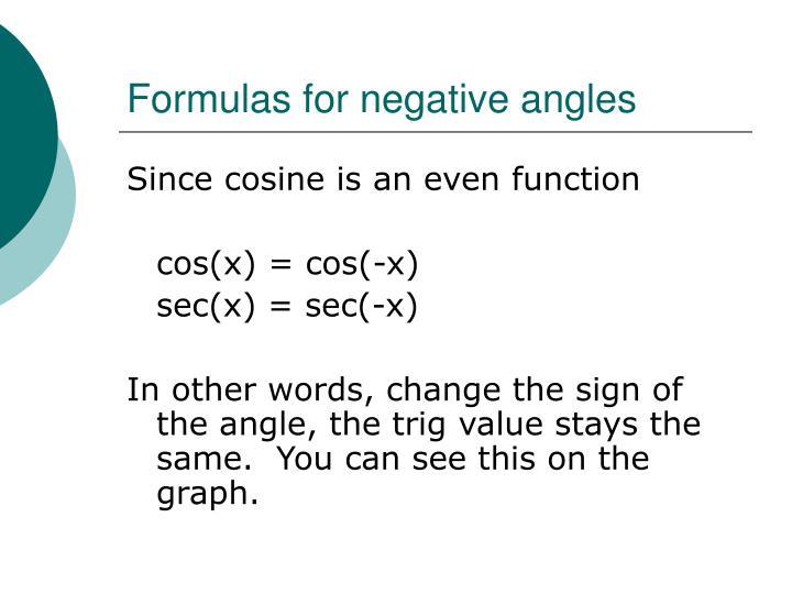 Formulas for negative angles