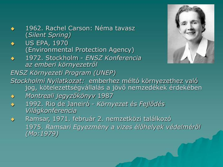 1962. Rachel Carson: Néma tavasz
