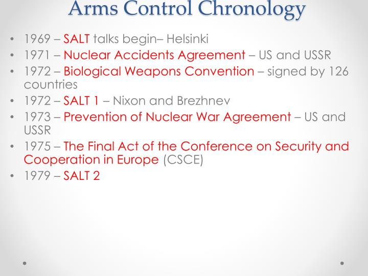 Arms Control Chronology