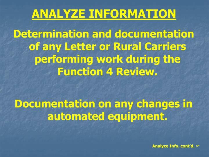ANALYZE INFORMATION