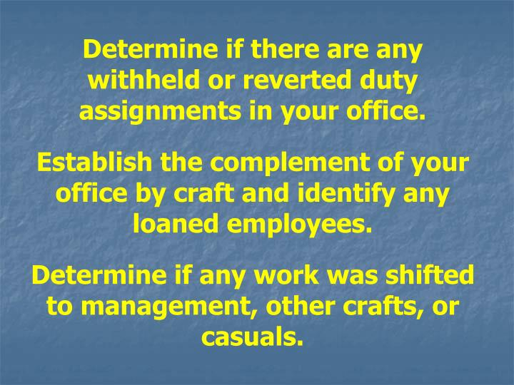 Determine if there are any withheld or reverted duty assignments in your office.