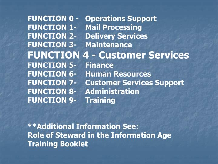 FUNCTION 0 - Operations Support