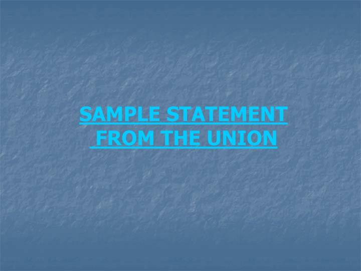 SAMPLE STATEMENT