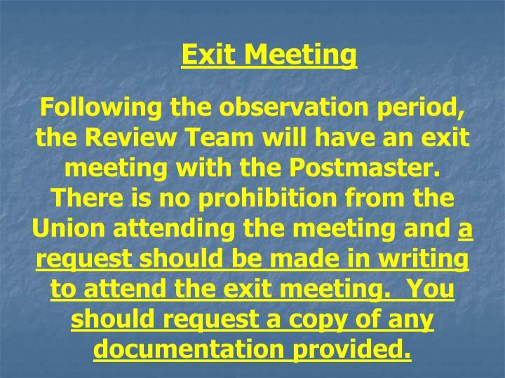 Exit Meeting
