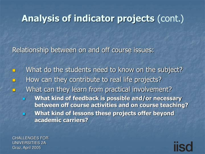 Analysis of indicator projects