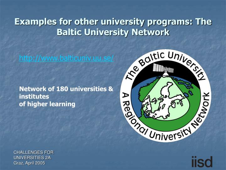 Examples for other university programs: