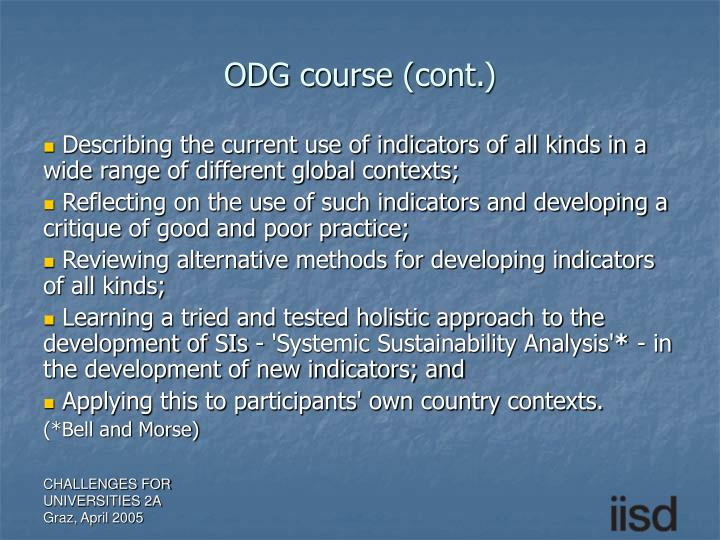 ODG course (cont.)