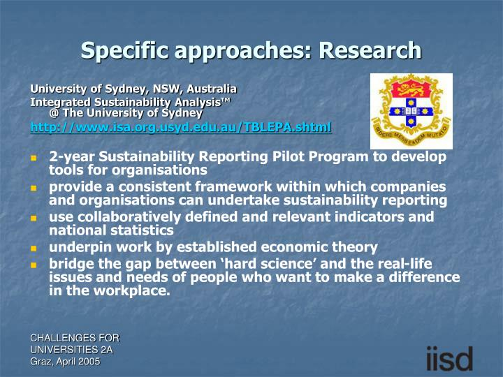 Specific approaches: Research